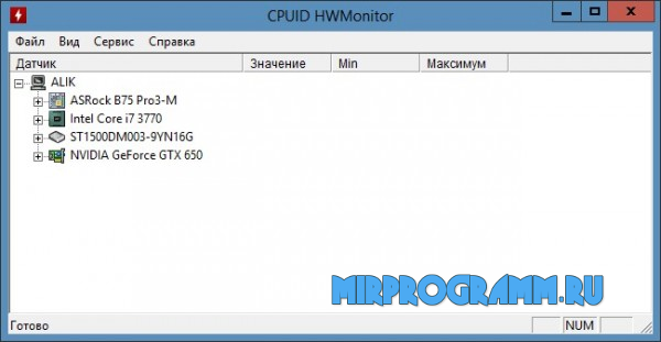 HWMonitor для Windows