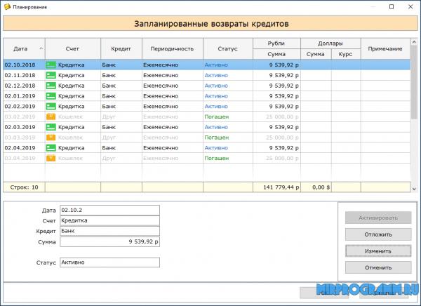 Домашняя бухгалтерия для Windows